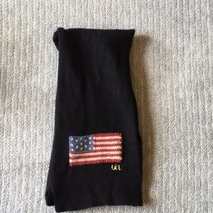 Knit black scarf with an American flag